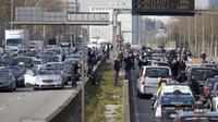 Les taxis bloquent le périphérique le 10 février 2014 à Paris [Thomas Samson / AFP]
