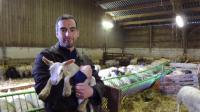 """Armand Harlé d'Ophove, fondateur de """"la bêle solution"""", pose avec un agneau à Longueil-Sainte-Marie près de Paris le 19 février 2014 [Sandra Laffont / AFP]"""