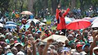 Des milliers de membres du syndicat de mineurs sud-africains AMCU manifestent à Pretoria, le 6 mars 2014  [Mujahid Safodien / AFP]