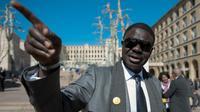 Pape Diouf, candidat à la mairie de Marseille et ancien président de l'OM, le 7 mars 2013 à Marseille [Bertrand Langlois / AFP/Archives]