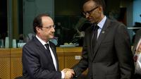 Le président François Hollande et le président rwandais Paul Kagamé le 2 avril 2014 à Bruxelles  [Alain Jocard / POOL/AFP]