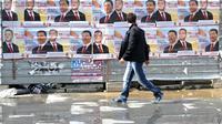 Affiches électorales de  Nikola Gruevski candidat à la présidentielle, le 11 avril 2014 à Skopje [Robert Atanasovski  / AFP]