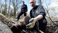 Travail de déminage sur le site du Vieil Armand, anciennement appelé Hartmannswillerkopf, le 9 avril 2014 dans les Vosges [Frederick Florin / AFP]