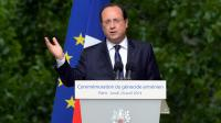 Le président François Hollande délivre un discours pour les commémorations du génocide arménien, 99 ans après, à Paris le 24 avril 2014 [Pierre Andrieu / AFP]