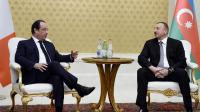 Francois Hollande reçu par son homologue azéri Ilham Aliyev le 12 mai 2014 à Bakou [Stéphane de Sakutin / AFP]