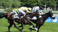 Le pur-sang Storm Of Saintly, monté par Vincent Cheminaud (g), franchit la ligne d'arrivée du Grand Steeple-Chase de Paris devant Shannon Rock, sous la selle de David Cottin (d), le 18 mai 2014 [Dominique Faget / AFP]