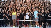 """La joueuse américaine Serena Williams (à gauche) et l'Espagnol Rafael Nadal (à droite) lors de la course de 10 km """"We own the night"""" le 23 mai 2014 à Paris [Miguel Medina / AFP]"""
