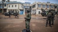 Soldats congolais de la force africaine Misca sur le lieu d'une manifestation antigouvernementale à Bangui, le 30 mai 2014 [Marco Longari / AFP]