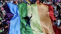 """Un drapeau géant aux couleurs de l'arc-en-ciel symbole international des LGBT, étendue lors du dernier défilé de la semaine """"Trans pride"""" à Istanbul, le 29 juin 2014 [Ozan Kose / AFP]"""