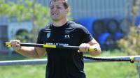 Le joueur de l'ASM Clermont Benjamin Kayser à l'entraînement le 17 juillet 2014 au stade des Gravanches. [Thierry Zoccolan / AFP]