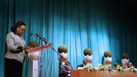 La présidente centrafricaine Catherine Samba Panza (gauche) lors de discussions entre des acteurs du conflit centrafricain à Brazzaville le 21 juillet 2014 [Guy-Gervais Kitina / AFP]