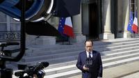 Le président François Hollande s'adresse aux médias au lendemain du crash d'un avion d'Air Algérie, le 25 juillet 2014 à Paris  [Kenzo Tribouillard / AFP/Archives]