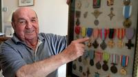 Ernest Bonacoscia, un vétéran français qui a pris part au débarquement de Provence, à Bastia le 31 juillet 2014 [Pascal Pochard Casabianca / AFP]