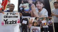 Une manifestation de soutien aux Yazidis, minorité kurdophone non musulmane persécutée par l'Etat islamique (EI), le 20 août 2014 à Angers [Jean-François Monier / AFP]