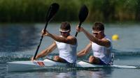 France's Arnaud Hybois (L) and Sebastien Jouve compete in the kayak double (K2) 200m men's semifinal during the London 2012 Olympic Games, at Eton Dorney Rowing Centre in Eton, west of London, on August 10, 2012. AFP PHOTO / DAMIEN MEYER[AFP]
