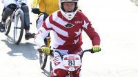 """Le Letton Maris Strombergs s'est confirmé roi des """"casse-cou"""", vendredi, aux JO de Londres, en conservant son titre du BMX dans un tournoi qui a tourné à la déconfiture pour l'équipe de France.[AFP]"""