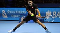 Le Serbe Novak Djokovic lors de sa demi-finale de Masters face à l'Argentin Juan-Martin Del Potro, le 11 novembre 2012. [Glyn Kirk / AFP]