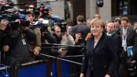 La chancelière allemande Angela Merkel arrive le 23 novembre 2012 au siège de l'UE à Bruxelles [Thierry Charlier / AFP]