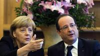 Angela Merkel et François Hollande, le 22 janvier 2013 à l'ambassade de France à Berlin [Thomas Peter / Pool/AFP]
