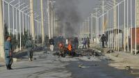 La police afghane sur le lieu d'une attaque-suicide, le 18 septembre 2012 à Kaboul [Massoud Hossaini / AFP]