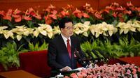 Le président chinois Hu Jintao, lors du discours d'ouverture du 18e congrès du PCC, le 8 novembre 2012 à Pékin [Goh Chai Hin / AFP]