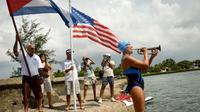Diana Nyad, une Américaine de 62 ans, s'est mise à l'eau samedi.