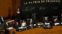 Le président chinois, Xi Jinping, à la tribune devant le Sénat mexicain, le 5 juin 2013 à Mexico [Ronaldo Schemidt / AFP]