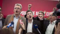 Pierre Laurent (gauche) et Jean-Luc Mélenchon, le 14 septembre 2012 à la Fête de l'Humanité [Fred Dufour / AFP/Archives]