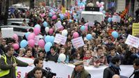 Manifestation à Bordeaux contre le mariage gay, le 8 décembre 2012 [Jean-Pierre Muller / AFP]