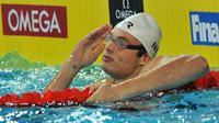 Florent Manaudou a décroché sa première médaille, le bronze, sur 50 m brasse, lors de la dernière journée des Mondiaux-2012 en petit bassin, le 16 décembre 2012 à Istanbul [Bulent Kilic / AFP]
