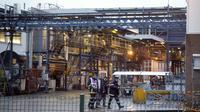 Des gendarmes et pompiers sur le site de l'usine chimique Lubrizol, le 22 janvier 2013 à Rouen [Charly Triballeau / AFP]