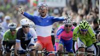 Le champion de France Nacer Bouhanni (FDJ), vainqueur de la première étape de Paris-Nice, entre Saint-Germain-en-Laye et Nemours, le 4 mars 2013. [Jeff Pachoud / AFP]