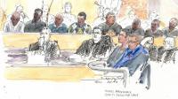 Croquis d'audience du procès du meurtre de Mohamed Laidouni, battu à mort sur l'autoroute A13, le 8 avril 2013 à Versailles [Benoit Peyrucq / AFP/Archives]