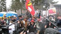 Theresa Spence, la chef d'Attawapiskat, s'adresse à la presse lors d'une manifestation d'Amérindiens à Ottawa, le 11 janvier 2013 [Michel Comte / AFP]
