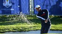 L'Américain Tiger Woods s'entraîne pour la Ryder Cup, au Gol National de Saint-Quentin-en-Yvelines, le 25 septembre 2018 [FRANCK FIFE / AFP]