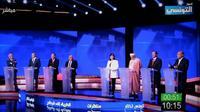 Capture d'écran montrant le plateau du premier des trois débats pour le 1er tour de l'élection présidentielle en Tunisie, le 7 septembre 2019 à Tunis [- / Ettounsiya TV channel/AFP]