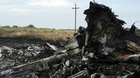 Des débris de la carlingue du vol MH17 de la Malaysian Airlines abattu au-dessus de l'Ukraine, le 18 juillet 2014 près de Shaktarsk [DOMINIQUE FAGET / AFP/Archives]