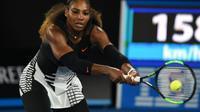 L'Américaine Serena Williams lors de la finale de l'Open d'Australie face à sa soeur Venus, le 28 janvier 2017 à Melbourne [PAUL CROCK                      / AFP/Archives]