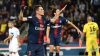 Le milieu parisien Julian Draxler lance le PSG sur la voie d'un large succès face à Saint-Etienne au Parc des Princes, le 14 septembre 2018 [Anne-Christine POUJOULAT             / AFP]
