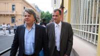 Le député FN Gilbert Collard et le vice-président du parti, Louis Aliot, le 29 mai 2012 à Perpignan [Raymond Roig / AFP/Archives]