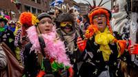 Des fêtards prennent part au carnaval de Dunkerque, dans le nord de la France, le 7 février 2016 [PHILIPPE HUGUEN / AFP/Archives]