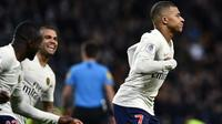 L'attaquant du PSG Kylian Mbappé buteur sur le terrain de Saint-Etienne, le 17 février 2019 au stade Geoffroy-Guichard  [JEFF PACHOUD / AFP]