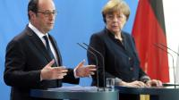 François Hollande et  Angela Merkel lors d'un point de presse le 27 janvier 2017 à Berlin [Adam BERRY / AFP/Archives]