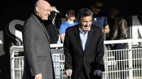 Le président de la FFR Bernard Laporte (g) et celui de Montpellier, Mohed Altrad, le 19 février 2017, à l'Altrad Stadium  [Franck PENNANT / AFP/Archives]