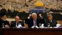 Le président palestinien Mahmoud Abbas s'exprime à l'ouverture d'une réunion du Conseil central, à Ramallah, le 14 janvier 2018 [ABBAS MOMANI / AFP]
