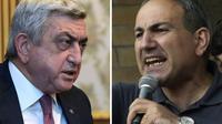 A gauche, l'ex-président et nouveau Premier ministre Serge Sarkissian, le 4 mars 2016, et à droite le leader de la contestation Nikol Pashinian, le 22 juillet 2016 [KAREN MINASYAN / AFP]