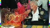 Jeanne Calment, le 21 février 1997 à Arles dans sa maison de retraite [GEORGES GOBET / POOL/AFP/Archives]