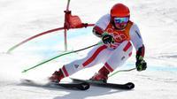 L'Autrichien Marcel Hirscher lors de la 1re manche du slalom géant des Jeux olympiques de Pyeongchang, le 18 février 2018 [Martin BERNETTI / AFP]
