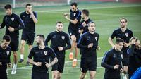 L'équipe de Croatie à l'entraînement, à Moscou, le 9 juillet 2018 [Alexander NEMENOV / AFP]