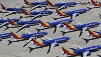 Des Boeing 737 MAX de la compagnie Southwest sur le tarmac de Victorville le 28 mars 2019 [Mark RALSTON / AFP/Archives]